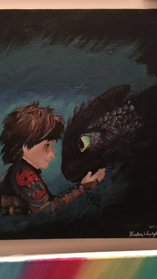 Used Toothless and hiccup painting wall decor for sale in Edmonton ...