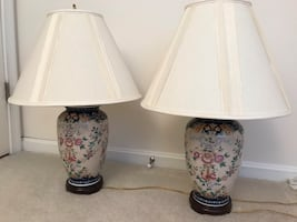 Pair of blue floral table lamps,
