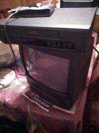 A VHS TELEVISION WITH EXTRA VHS RECORDER FOR VHS TO VHS Recording.