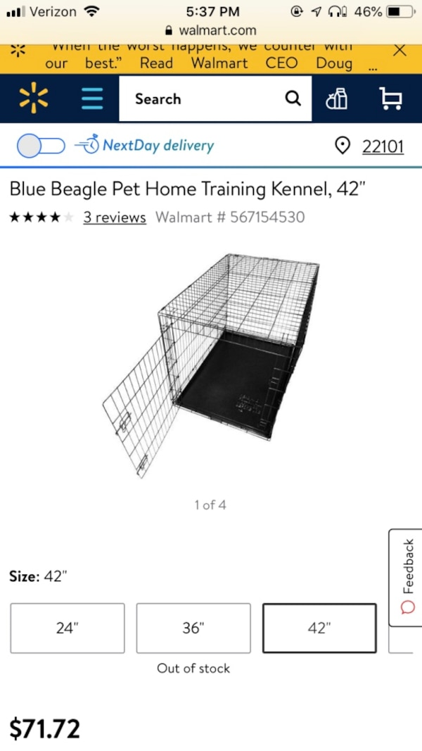 Collapsible Pet Kennel 42 inches