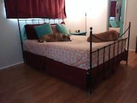 QUEEN MATTRESS, BOXSPRING, ROD IRON FRAME & FEATHERBED CATHEDRALCITY