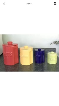 Canister Set of 4 Interlocking Multicolor Red/Yellow/Green/Blue. Worcester, 01602