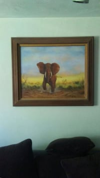 brown elephant near green leaf grass painting with brown wooden frame Eugene, 97401