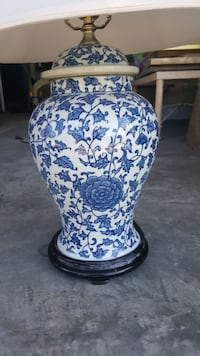Porcelain blue and white lamp base with shade