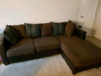 brown fabric sectional sofa with throw pillows Chesapeake, 23322