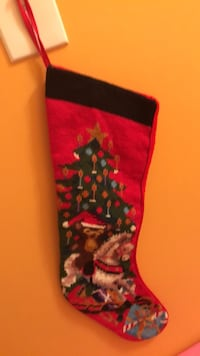 Pretty!!! needle point Christmas Stocking with Rocking Horse
