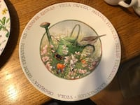 round white and green ceramic watering can print decorative plate Overland Park, 66212