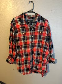 American eagle red plaid shirt