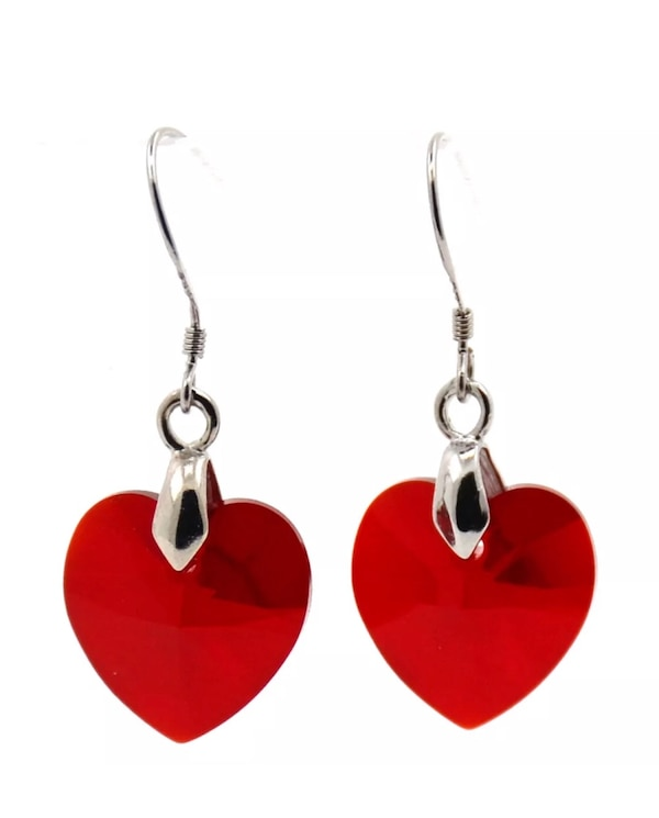 Silver Plated Red Heart Earrings Crafted With Swarovski Crystal