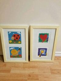 two white wooden framed painting of flowers Kitchener