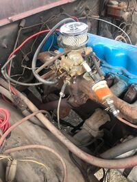 Ford engine runs good  for f100 1972 condition Blue and gray car engine