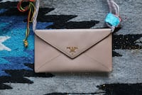 Champagne Prada Envelope Wallet in Saffiano Leather  Beverly Hills