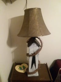 brown wooden base with white lampshade table lamp 42 mi