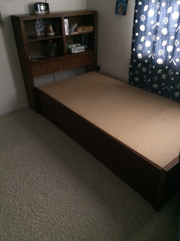 Brown twin kids captains bed 0