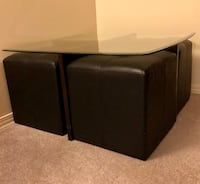 Glass top coffee table with ottomans Toronto, M2H 2N9