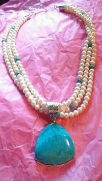 Turquoise Pearl Necklace!  Lusby, 20657