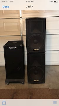 Two black pa speakers with amplifier Clarksville, 37040