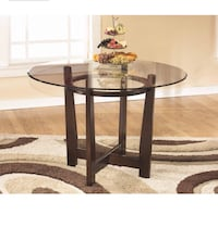 Ashley Furniture Signature Design - Charrell Dining Room Table - Glass Top - Round - Medium Brown Amazon's Choice  Silver Spring, 20910