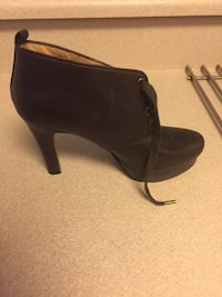 Paired brown leather platform cone heeled bootie Huntington Beach, 92646