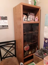 Single faux wood and glass display case