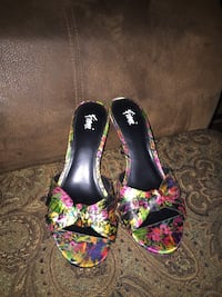 pair of multicolored floral open-toe heeled sandals Edmonton, T6V 1P3