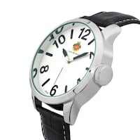 Round silver analog watch with brown leather strap (PRICE DROP) Hudson, 03051