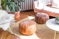 New Leather Moroccan Pouf / Ottoman Oakville