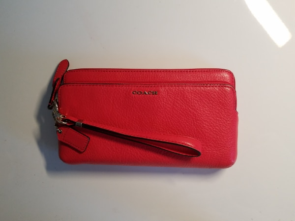 New Coach Double Zip Leather Wristlet