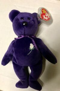 Purple and purple ty beanie baby bear plush toy