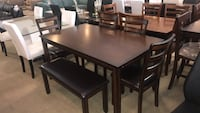 Wooden Espresso Dining Table With Bench & Chairs  Phoenix, 85018
