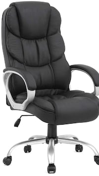 Black leather padded rolling chair Plantation, 33317