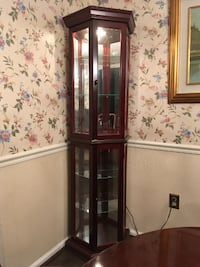 Lighted Glass Curio Corner Cabinet COLUMBIA