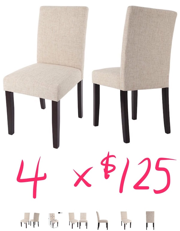Set of FOUR Fabric dining chairs