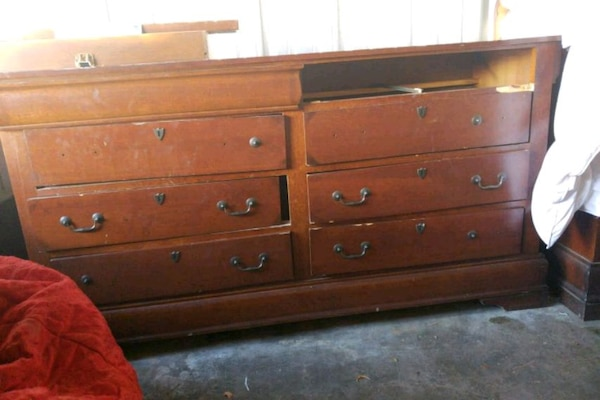 King size bed frame and dresser w/ mirror