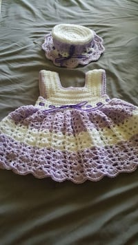 baby girl's white and purple knitted dress and hat