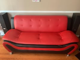 Contemporary Red & Black Leather-like Sofa