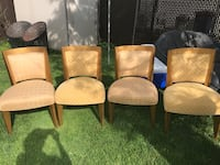 Four brown wooden framed beige padded armchairs 20 x4 Laval, H7T