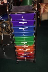 Metal and plastic rolling storage unit