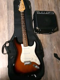 Fender guitar, softcase, and amp Blue Bell, 19422