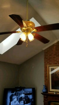 brown 5-bladed ceiling fan with light Chantilly