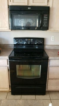 black induction range oven and microwave oven
