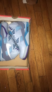 Pair of white-and-blue Nike size 7.5 65 or best offer  Black Jack, 63033