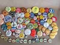 Vintage pinback buttons and Jello picture Wheels