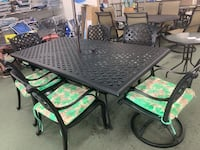 "7 piece Patio  DWL rust free aluminum 85""x45""table set NEW $1599.99"