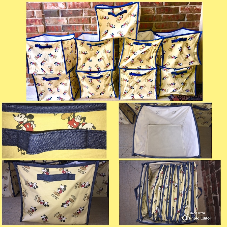 9 Custom Made Storage Cubes Set Mickey Mouse Fabric Trimmed In Denim