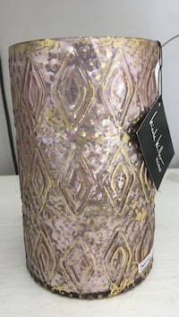Nicole Miller Home gold and pink led candle