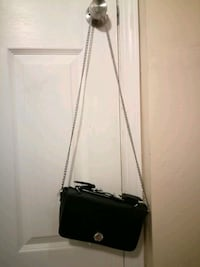 black leather crossbody bag with silver chain link Los Angeles, 90744
