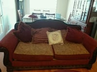 brown and red fabric loveseat Brampton, L6W 3X7