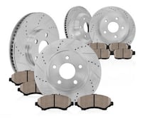 2015 mustang Front & Rear drilled slotted rotors & ceramic brake pads kit. Palmdale, 93552