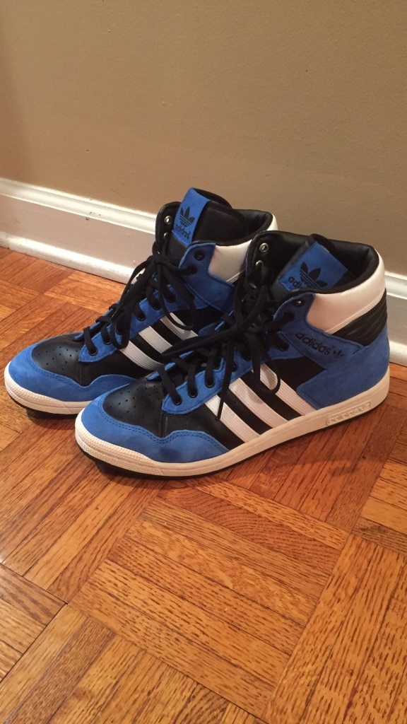 Blue white black adidas high top sneakers